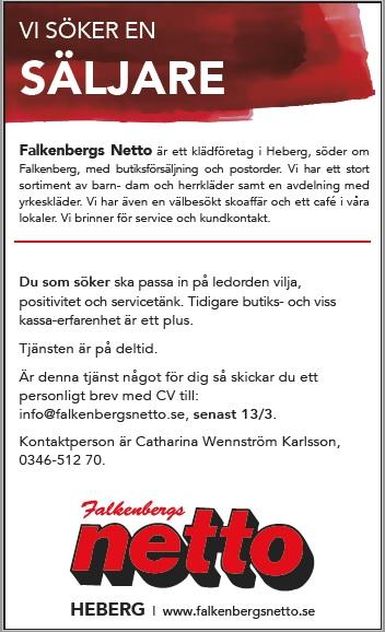 Säljare sökes Falkenberg
