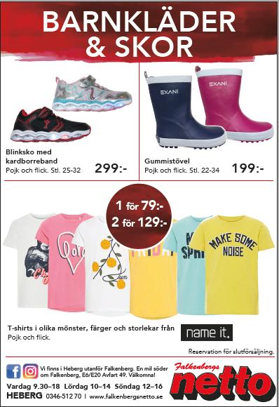 Blinkskor, Gummistövlar rosa och blå, barn T-shirt i Falkenberg